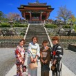 Japanese girls dressing traditional Kimono enjoy cherry blossom — Stock Photo