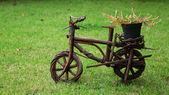 Vintage garden bicycle with flower pot — Stock Photo