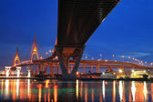 Bhumibol Bridge across river with light trail at twilight — Stock Photo