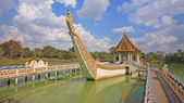 Thai temple on Suphannahong ship against blue sky — Stok fotoğraf