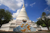 Thai White pagoda with dragon painting — Stock Photo