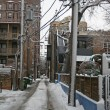 Snowy on road in Chicago neighborhood — Stock Photo