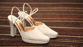 Elegant and stylish bridal shoes — Stock Photo