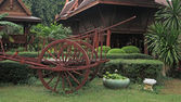 Thai farmer cattle cart decorated at house — Foto Stock