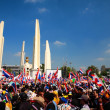 Stock Photo: Protesters gather at Democracy Monument in Bangkok