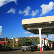 Gas station with self serve pumps in USA — Stock Photo