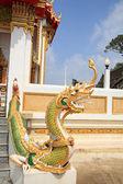 Naga at staircase in Thai Temple — Stock Photo