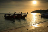 Long tail boats at sunset at Koh Lipe — Stok fotoğraf
