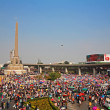 Stock Photo: Thai protesters gather at Victory monument to expel Yingluck