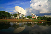 Large broadcast radars, satellite dishes, or radio telescopes — Stock Photo
