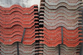 Stack of red tiles for construction — 图库照片