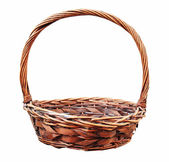 Red wooden wicker basket isolated  — 图库照片