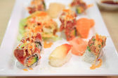 Sushi set with vegetable salad — ストック写真