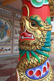 Golden dragon on red column  — Stock Photo