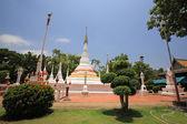 Many white pagodas of Thai temple — Stock Photo