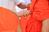 Dressing robe for Newly ordained Buddhist monk — Stock Photo