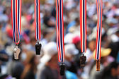 Whistles with Thailand  flag lanyard hanging for sale — Stock Photo