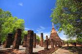 Sukhothai landmark, elephant statues attached on ancient pagoda  — Foto Stock