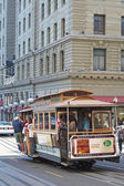 Passengers in a cable car at San Francisco — Stock Photo