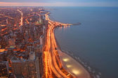 Chicago Lake Shore Drive Aerial View at twilight — Stock Photo