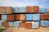 Large concrete piles preparing for construction — Foto de Stock