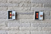 Electronic gate control buttons of Up, Stop, Down  — Stock Photo