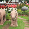 Cow sculpture decorated the garden — Stock Photo #50415891