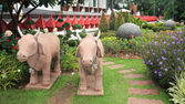 Cow sculpture decorated the garden — Stock Photo