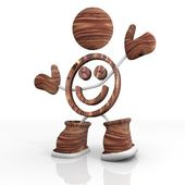 Wooden smile 3d character — Stock Photo