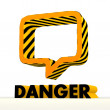 Постер, плакат: Risky speach balloon icon with warning pattern