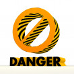 Постер, плакат: 3d forbidden icon with warning pattern