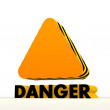 Stock Photo: Warning triangle icon with warning pattern