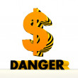 Постер, плакат: Dangerous Dollar icon with warning pattern