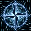 Disco compass symbol with bleu light effects — ストック写真