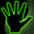Glaring disco hand symbol in neon green — Stock Photo