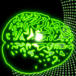 Disco brain lights in neon green glaring - Stock Photo