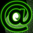 Disco email effect party contact icon in neon green — Stock Photo #20941119