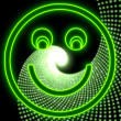 Disco smile light smily icon in neon green — Stock Photo