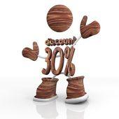 -30 prcent sleva dřevěný obrázek s 3d znak — Stock fotografie