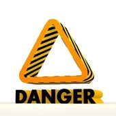 Risky triangle icon with warning pattern for own content — Stock Photo
