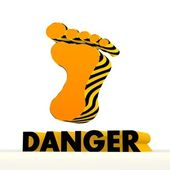 Hazardous footprint pictogram with warning pattern — Stock Photo