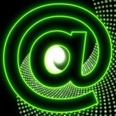 Disco email effect party contact icon in neon green — Stock Photo