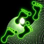 Beautiful footprint symbol in glaring neon green — Stock Photo