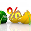 Percent for sale discount icon in easter egg - Stock Photo