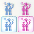 Funny pink and blue homosexual relationship icon - Foto Stock