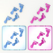 Nice footprint coloured pink blue lable icon - Foto Stock