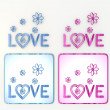 Nice isolated love icon with flowers in pink and blue - Foto Stock