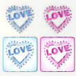 Fresh heart with stars icons in pink and blue - Foto Stock