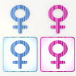 Colorful blue and pink woman 3d icon lable - Foto Stock