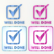 Coltish well done icon in double color lable — Stock Photo #21855037